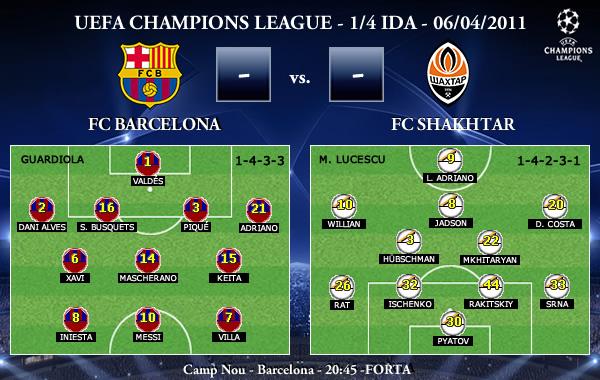UEFA Champions League - 1/4 IDA - 06/04/2011 - FC Barcelona FC vs. FC Shakhtar Donetsk