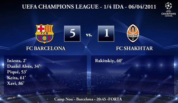 UEFA Champions League – 1/4 IDA – 06/04/2011 – FC Barcelona FC (5) vs. (1) FC Shakhtar Donetsk