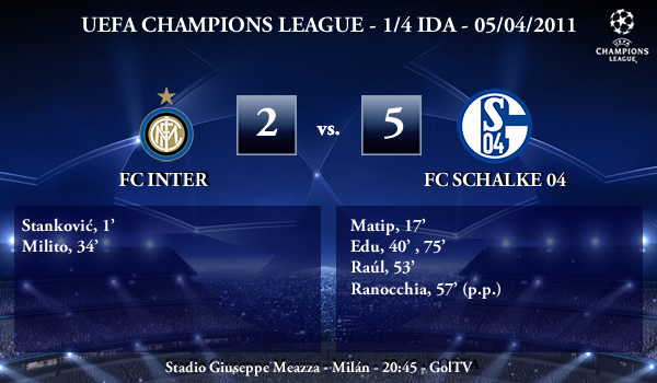 UEFA Champions League – 1/4 IDA – 05/04/2011 – FC Inter (2) vs. (5) FC Schalke 04
