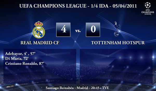 UEFA Champions League – 1/4 IDA – 05/04/2011 – Real Madrid CF (4) vs. (0) Tottenham Hotspur FC