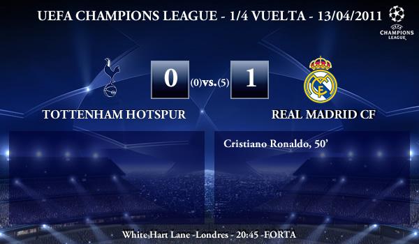 UEFA Champions League – 1/4 VUELTA – 13/04/2011 – Tottenham Hotspur FC (0) vs. (1) Real Madrid CF