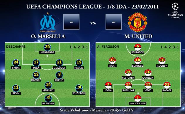 UEFA Champions League - 1/8 IDA - 23/02/2010 - Olympique Marsella vs. Manchester United FC