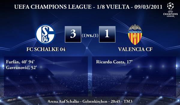 UEFA Champions League - 1/8 VUELTA - 09/03/2011 - FC Schalke 04 (3) vs. (1) Valencia CF