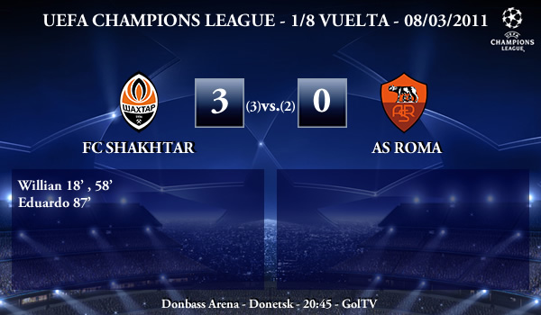 UEFA Champions League - 1/8 VUELTA - 08/03/2011 - FC Shakhtar Donetsk (3) vs. (0) AS Roma