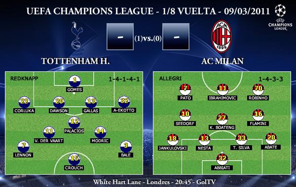 UEFA Champions League - 1/8 VUELTA - 09/03/2011 - Tottenham Hotspur FC vs. AC Milan
