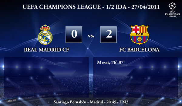 UEFA Champions League – 1/2 IDA – 27/04/2011 – Real Madrid CF (0) vs. (2) FC Barcelona