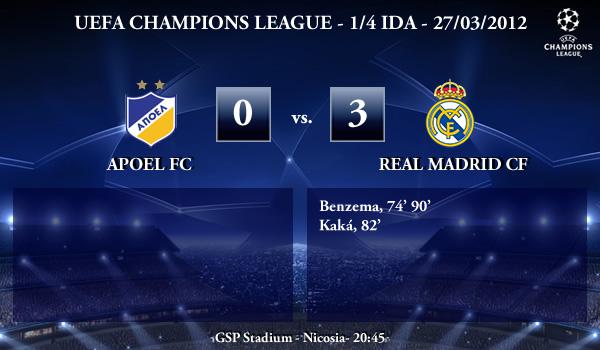 UEFA Champions League – 1/4 IDA – 27/03/2012 – Apoel FC (0) vs. (3) Real Madrid