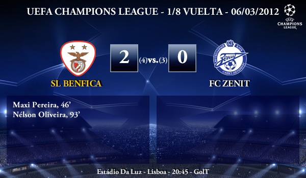 UEFA Champions League – 1/8 VUELTA – 06/03/2012 – SL Benfica (2) vs. (0) FC Zenit