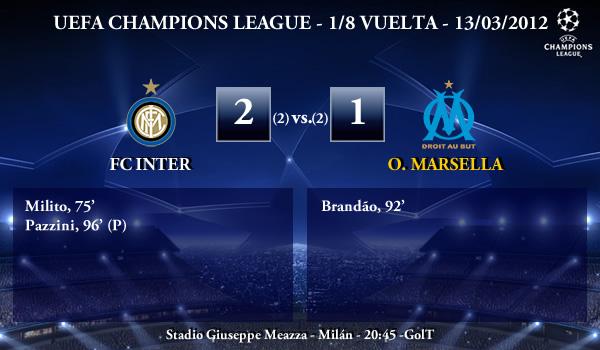 UEFA Champions League – 1/8 VUELTA – 13/03/2012 – FC Inter (2) vs. (1) O. Marsella