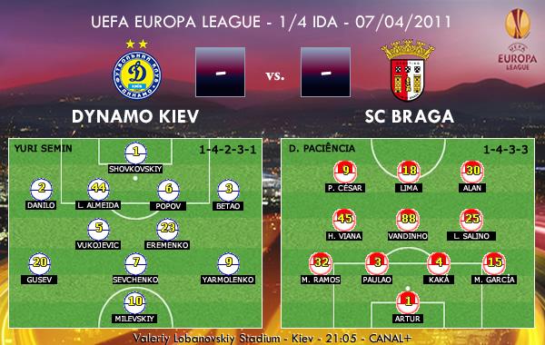 UEFA Europa League – 1/4 IDA – 07/04/2011 – Dynamo Kiev vs. SC Braga