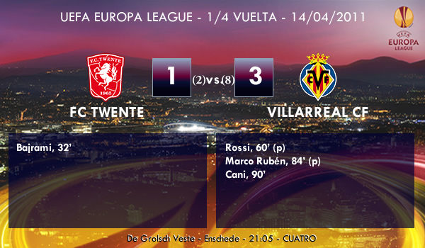UEFA Europa League – 1/4 VUELTA – 14/04/2011 – FC Twente (1) vs. (3) Villarreal CF