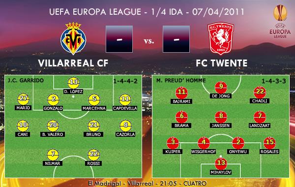 UEFA Europa League – 1/4 IDA – 07/04/2011 – Villarreal CF vs. FC Twente