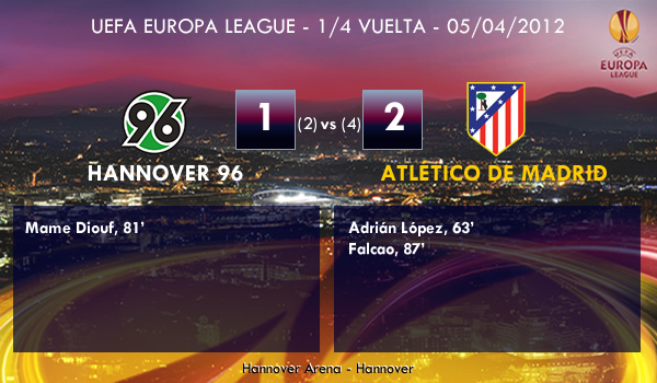 UEFA Europa League – 1/4 VUELTA –  05/04/2012 – Hannover 96 (1) vs. (2) Atlético de Madrid