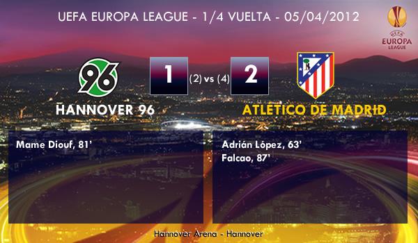 UEFA Europa League – 1/4 VUELTA –  05/04/2012 – Hannover 96 (1) vs. (2) Atlético de Madrid