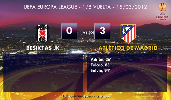 UEFA Europa League – 1/8 VUELTA – 15/03/2012 – Besiktas JK (0) vs. (3) Atlético de Madrid