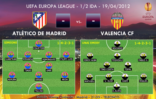 UEFA Europa League – 1/2 IDA – 19/04/2012 – Atlético de Madrid vs. Valencia CF