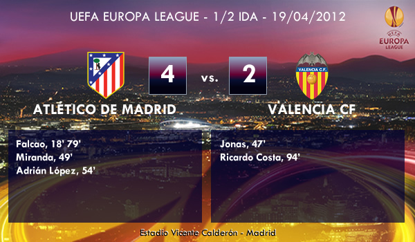 UEFA Europa League – 1/2 IDA – 19/04/2012 – Atlético de Madrid (4) vs. (2) Valencia CF