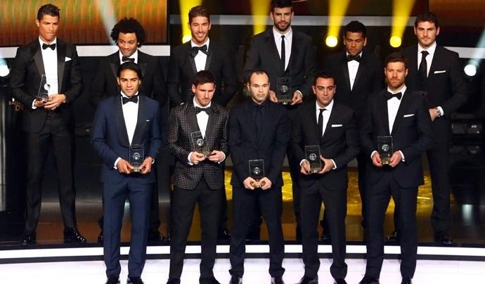 Mejor XI de la temporada 2012. Gala de la FIFA Balón de Oro
