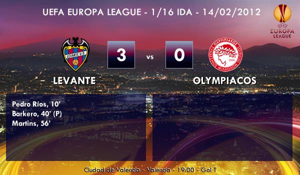 UEFA Europa League – 1/16 IDA – 14/02/2013 - Levante (3) vs. (0) Olympiacos