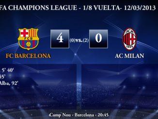 UEFA Champions League - 1/8 VUELTA - 12/03/2013 - FC Barcelona (4) vs. (0) AC Milan