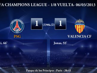 UEFA Champions League - 1/8 VUELTA - 06/03/2013 - PSG (1) vs. (1) Valencia