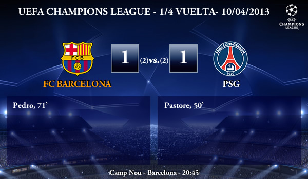 UEFA Champions League – 1/4 VUELTA – 10/04/2013 – FC Barcelona (1) vs. (1) PSG