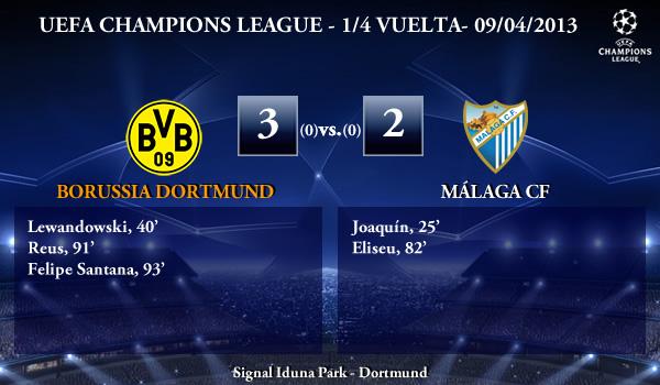 UEFA Champions League - 1/4 VUELTA - 09/04/2013 - Borussia Dortmund (3) vs. (2) Málaga CF