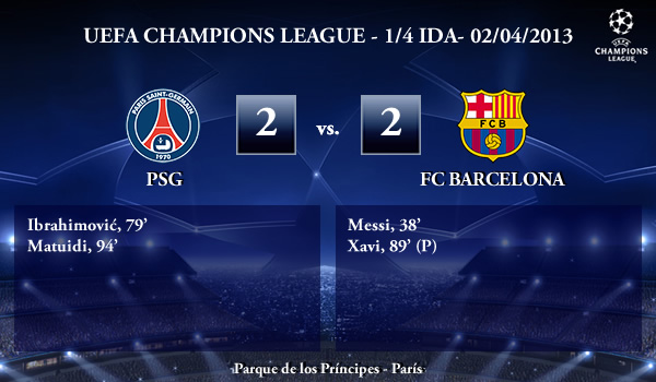 UEFA Champions League - 1/4 IDA - 02/04/2013 - PSG (2) vs. (2) FC Barcelona