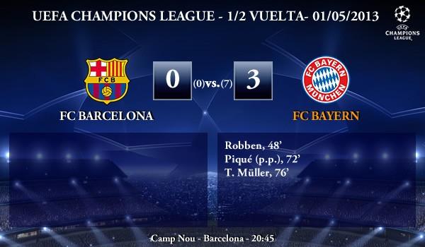 UEFA Champions League - Semifinales VUELTA - 01/05/2013 - FC Barcelona (0) vs. (3) FC Bayern