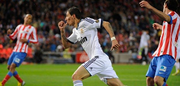 Di Maria celebra el gol de la victoria del Real Madrid en el Derbi (27/04/2013)