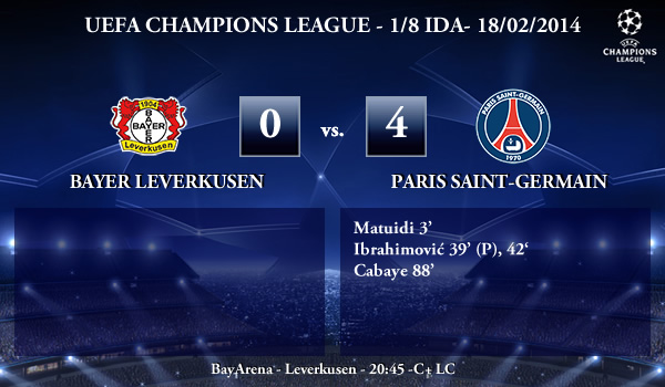 UEFA Champions League - 1/8 IDA - 18/02/2013 - Bayer Leverkusen (0) vs. (4) Paris Saint-Germain