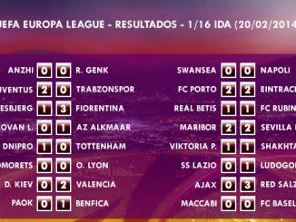 UEFA Europa League – 1/16 IDA – 20/02/2014 - Resultados