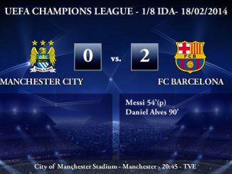 UEFA Champions League - 1/8 IDA - 18/02/2013 - Manchester City (0) vs. (2) FC Barcelona