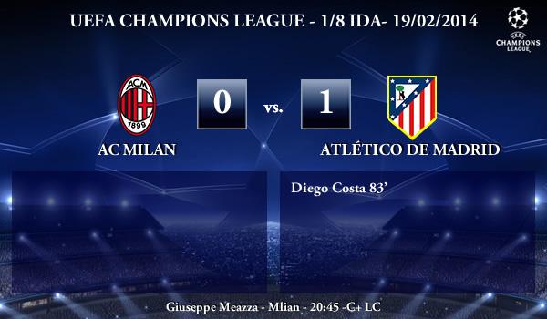 UEFA Champions League - 1/8 IDA - 19/02/2013 - AC Milan (0) vs. (1) Atlético de Madrid