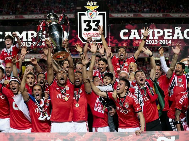 El Benfica celebra el título de Liga Zon Sagres 2013/2014