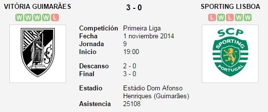 Vitória Guimarães vs. Sporting Lisboa   1 noviembre 2014   Soccerway