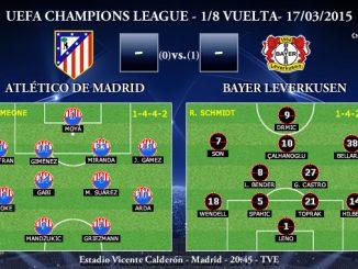 UEFA Champions League – 1/8 VUELTA – 25/02/2015 – Atlético de Madrid vs Bayer Leverkusen