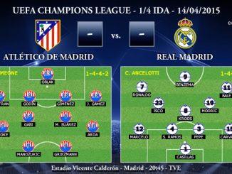 UEFA Champions League – 1/4 IDA – 14/04/2015 – Atlético de Madrid vs Real Madrid