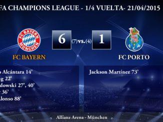 UEFA Champions League – 1/4 VUELTA – 21/04/2015 – FC Bayern 6-1 FC Porto