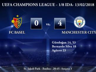 UEFA Champions League – 1/8 IDA – Basilea 0-4 Manchester City