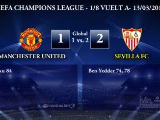 UEFA Champions League – 1/8 VUELTA – Manchester United 1-2 Sevilla