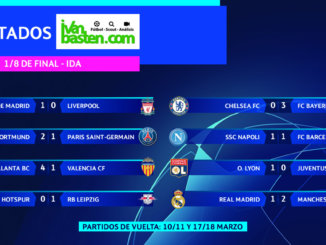 Champions League 19-20 – Resultados IDA 1/8 de final