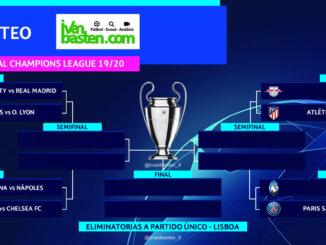 Resultados del sorteo de 1/4 de final y semifinales de la Champions League 19/20. El camino a la final de Lisboa ya está trazado.